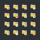 Płaskiego koloru stylu Skoroszytowe ikony ustawiają 2 Zdjęcia Stock