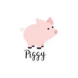 Płaskiego koloru wektorowa ikona z ślicznym zwierzęciem dla dziecko produktów - prosiątko Kreskówka styl Children doodle niemowlę ilustracji