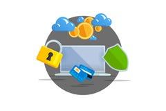 płaskiego koloru wektorowa ilustracja na lekkim tle Unaocznienia pojęcia elektroniczny handel, górniczy Bitcoin Obłoczna technika Fotografia Royalty Free