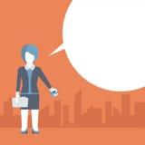 Płaskiego komicznego wiadomość szablonu wektorowy bizneswoman i kredytowa karta ilustracji