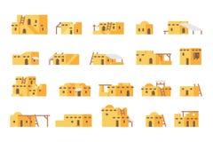 Płaskiego projekta błota domu arabski set zdjęcie stock
