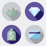 Płaskiego projekta biznesowe ikony z długim cieniem 3 royalty ilustracja