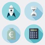 Płaskiego projekta biznesowe ikony z długim cieniem 1 ilustracji