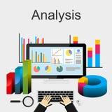 Płaskiego projekta ilustracyjni pojęcia dla dane analizy, trend analiza, biznes, planowanie, strategia biznesowa ilustracja wektor