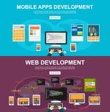 Płaskiego projekta ilustracyjni pojęcia dla mobilnych apps rozwoje, sieć rozwój programuje, programista, przedsiębiorca budowlany Obrazy Stock