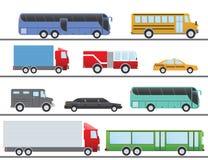 Płaskiego projekta miasta transportu mieszkania wektorowe ilustracyjne ikony Ciężarówki, autobus, taxi, limo, samochód strażacki  Obrazy Royalty Free