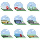 Płaskiego projekta miasta transportu mieszkania wektorowe ilustracyjne ikony Ciężarówki, autobus, taxi, limo, samochód strażacki  Obrazy Stock