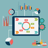 Płaskiego projekta nowożytne wektorowe ilustracyjne ikony ustawiać strony internetowej SEO optymalizacja, programujący procesu i  Zdjęcie Stock