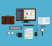 Płaskiego projekta nowożytny wektorowy ilustracyjny pojęcie kreatywnie biurowy workspace, miejsce pracy z komputerem biurka tło z Zdjęcie Stock