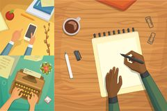 Płaskiego projekta odgórny widok na biurka pojęcia projekcie, Pisze na liście Miejsce pracy z maszyna do pisania Płaski projekt B ilustracja wektor