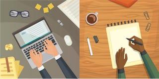 Płaskiego projekta odgórny widok na biurka pojęcia projekcie, Pisze na liście Miejsce pracy z maszyna do pisania Płaski projekt B ilustracji