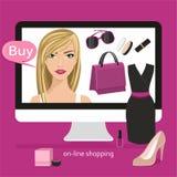 Płaskiego projekta pojęć wektorowy ilustracyjny sklep dla kobiet online ukierunkowywał, handel elektroniczny Obraz Royalty Free