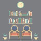 Płaskiego projekta rocznika Wewnętrzni krzesła i półka na książki ilustracji