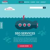 Płaskiego projekta strony internetowej wektorowy szablon z łodzią podwodną Obrazy Stock