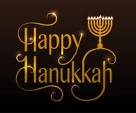 Płaskiego projekta stylu Hanukkah Szczęśliwy logotyp, odznaka i ikona, Obrazy Stock