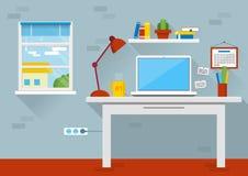 Płaskiego projekta wektorowa ilustracja nowożytny biurowy wnętrze Kreatywnie kreskówki biurowy workspace z komputerem ilustracji