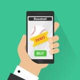 Płaskiego projekta wektorowi ilustracyjni pojęcia online baseballa bilet Wręcza mieniu mobilnego mądrze telefon z online zakupem  Obraz Stock
