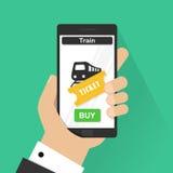 Płaskiego projekta wektorowi ilustracyjni pojęcia online taborowy bilet Wręcza mieniu mobilnego mądrze telefon z online zakupem a Fotografia Stock
