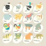 Płaskiego projekta zwierząt ikony wektorowy set Zoo dzieci Zdjęcie Royalty Free