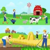 Płaskiego wektoru gospodarstwa rolnego zawodu pracownika sieci sztandarów średniorolni ludzie Zdjęcia Royalty Free