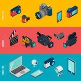 Płaskiej isometric wektorowej cyfrowych elektronika fotografii wideo wyposażenie ilustracja wektor