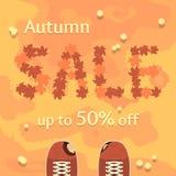 Płaskiej jesieni sprzedaży wektorowy sztandar, plakat, ulotka szablon Zdjęcia Royalty Free