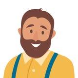 Płaskiej kreskówki mężczyzna wektoru szczęśliwa ikona Gruba mężczyzna ikony ilustracja Modnisia charakter Zdjęcia Royalty Free