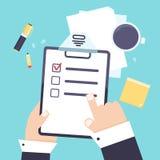 Płaskiej nowożytnej agendy listy biznesowy pojęcie z schowkiem, ołówkowa wektorowa ikona Shedule planisty papier, listy kontrolne Zdjęcie Royalty Free