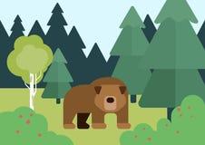 Płaskiej projekt kreskówki dzikich zwierząt wektorowy niedźwiedź w lesie royalty ilustracja