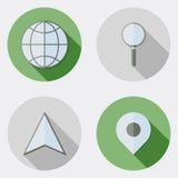 Płaskiej projekt lokaci podróżne ikony z długim cieniem ilustracji