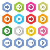 Płaskiej strzałkowatej ikony sześciokąta sieci ustalony guzik zdjęcia stock