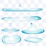 Płaskiej wody krople ustawiać Obrazy Royalty Free