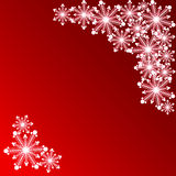 Płatek śniegu na czerwonym tle dla karty Fotografia Royalty Free