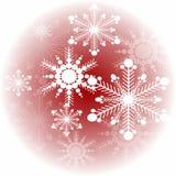 Płatek śniegu na czerwonym tle w okręgu Zdjęcie Royalty Free