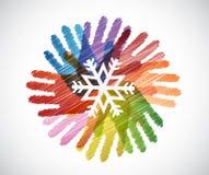 płatek śniegu nad różnorodność ręk okręgu ilustracją ilustracji