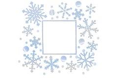 Płatek śniegu ramy papier ciący na białym tle Ilustracji