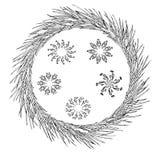Płatek śniegu ustawiający geometryczni kształty i sosna wianek Boże Narodzenia nowego roku karty zdjęcie stock