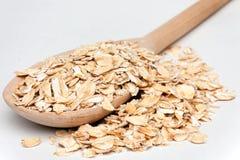płatków owsa łyżka drewniana Obraz Royalty Free