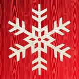 Płatka śniegu bożenarodzeniowy drewniany kartka z pozdrowieniami Fotografia Stock