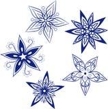 płatka śniegu duży set, sylwetki ikona, Obrazy Stock