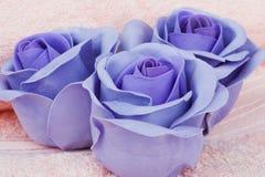 płatkami kolorze lila mydła Obrazy Royalty Free