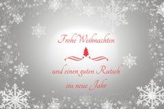 Płatki śniegu i czerwony drzewo na Szarym tle z troszkę tekstów Wesoło bożymi narodzeniami Szczęśliwym nowym rokiem i Obrazy Stock