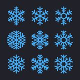 Płatki śniegu ustawiający dla boże narodzenie zimy projekta wektor Obrazy Stock