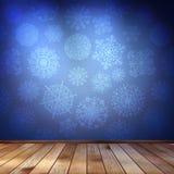 Płatki śniegu w błękitnym pokoju. EPS 10 ilustracji