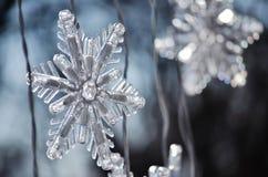 Płatki śniegu; Zamyka up Bożenarodzeniowa dekoracja fotografia stock