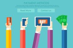 Płatniczy metoda sztandar Ręki płacą dla towarów, z pomocą gotówki, telefon, karta Zdjęcie Royalty Free