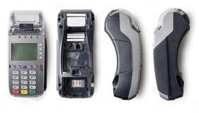 Płatniczy terminal, widoki od różnych stron Maszyna dla płacić pieniądze z pomocą contactless kredytowej karty lub NFC Fotografia Royalty Free