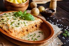 Płatowata kwaśna kapusta z minced mięsem i ryż nakrywającymi z kwaśną śmietanką, Kolozsvari Kaposzta, Varza - los angeles Cluj - Obraz Royalty Free