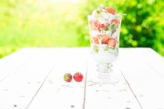 Płatowaty deser z malinką, truskawka, czarny kiwi, rodzynek, śmietanka i ciastka w szkłach, zdjęcia royalty free