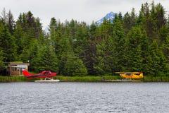 Pławików samoloty na bieługa Jeziornym homerze, Alaska Zdjęcia Royalty Free